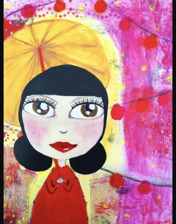 Under the Umbrella Mixed Media Art