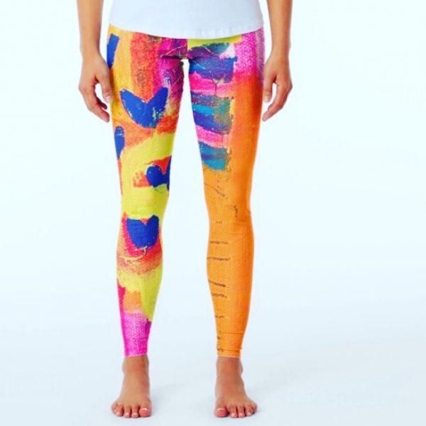 love leggings vibrant wearable art