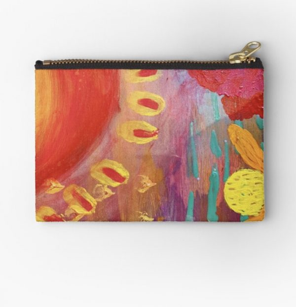 sunshine pouch featuring modern australian art by jess crawford