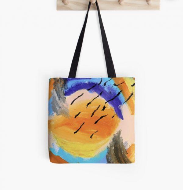 Springtime Rain Funky Tote Bags