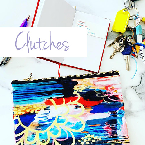 colourful clutches with bright vibrant australian art
